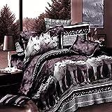 3D ropa de cama cuatro sets lobos patrón 4 unids,1 del Edredón/1Bed/cama/2 Fundas de Almohada...