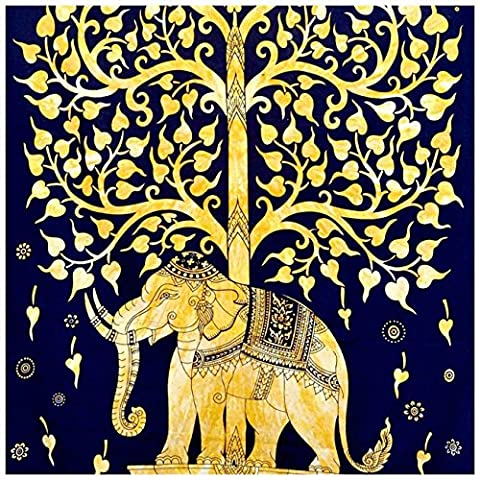 Indian Hippie Bohemian Psychedelic Twin-size Tapestry-tree-golden-elephant 54x72