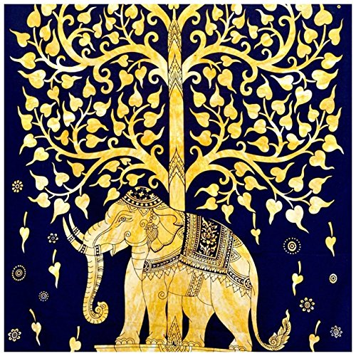 indien-hippie-bohme-psychdlique-twin-size-tapestry-tree-golden-elephant-54x-72