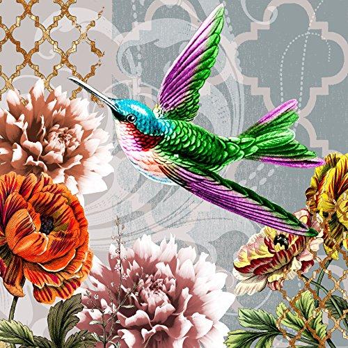 20 Servietten Colibri - Fliegender Kolibri / Vogel / Tiere / Blumen / Vintage 33x33cm -