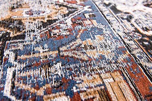 Louis de poortere tappeti designer antiquario heriz 8707divano blu anticata in stile vintage sbiadito e area rugs, blue, 170x240cm - (5'7x7'10)