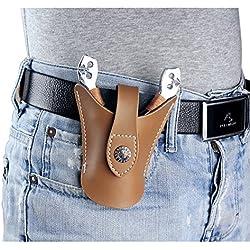 Alta calidad piel Cool bolsa de caza catapulta Slingshot Snap diseño abierto parte inferior, mujer hombre, brown-A
