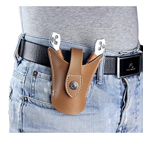 Hochwertige Schleuder-Tasche aus echtem Leder, für die Jagd, mit coolem Schnappdesign, offene Unterseite, damen Herren, brown-A