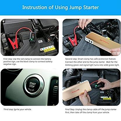 614UZOVtWmL. SS416  - Car Jump Starter 18000mAh 1000A Peak(hasta motor de gasolina 6.0L y motor diesel 3.0L) para 12V Coche