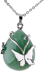 Bivei Vintage Wire Wrap Butterfly Gemstone Rose Quartz Amethyst Opalite Healing Crystal Pendant Necklace