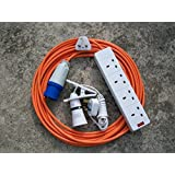 12m CAMPING ELECTRIC HOOK UP WITH 4 WAY SOCKET CLIP ON LIGHT AND NIGHT LIGHT ORANGE