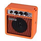 ammoon Amplificatore per Chitarra Acustica/Elettrica Mini Alimentato a Batteria da 5 Watt 9V Ukulele Alta Sensibilità con il Controllo del Tono del Volume (Arancione)