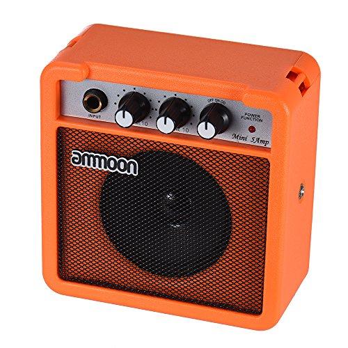 ammoon Amplifier for Acoustic / Electric Guitar Ukulele Mini 5 Watts 9V High Sensitivity Batteries with Volume Tone Control (Orange)
