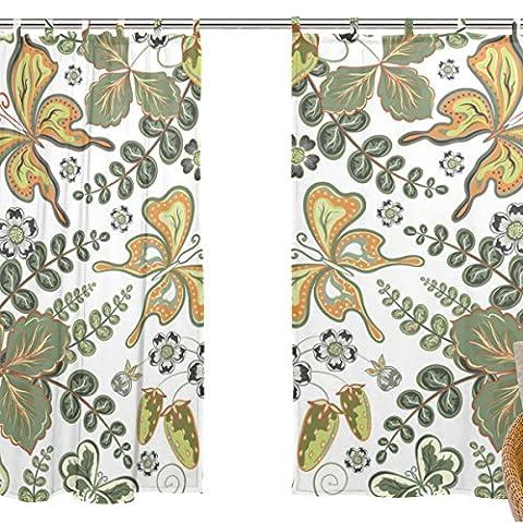 jstel Lot de 2voile rideau fenêtre, ethnique Art Motif Papillon, en tulle Transparent Rideau Drapé Lit 139,7x 198,1cm deux panneaux de