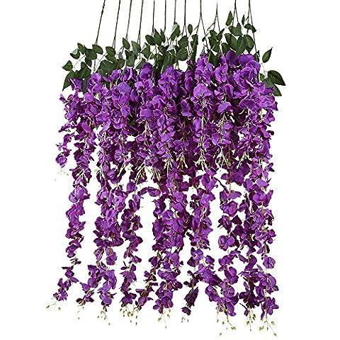 iShine 14pcs Artificial Wisteria Vine Ratta Romantic Classic Silk Flowers