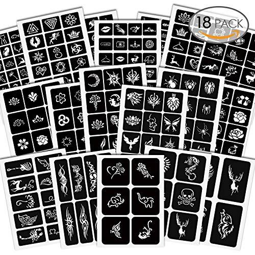 Amteker 285 Stück Temporäre Tattoo Schablonen - Glitter Kinder Tattoos Schablone Sticker Tätowierung Schablonen für Jugendliche Erwachsene Henna Designs (18 Blätter) -