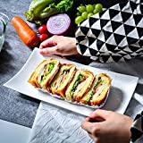 Yanshan Japanese-style rectangular white porcelain plate sushi dish cold dish can be into the oven microwave simple dish plate breakfast plate