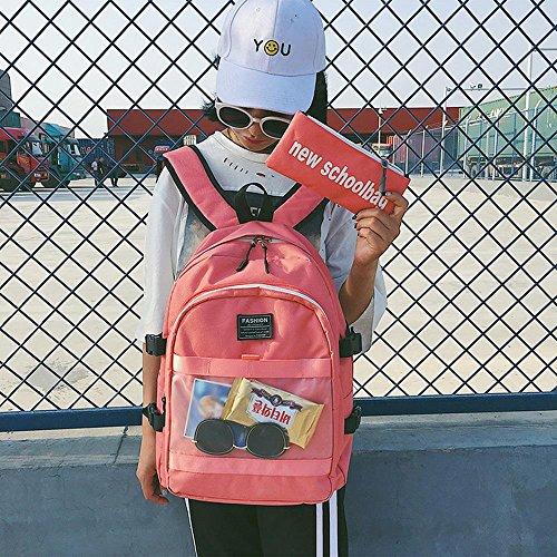 Borsa Da Scuola Donna Città Universitaria Studenti Di Scuole Superiori Selvaggio Piccola Fresca Sacchetto Di Spalla Della Tela Di Canapa , Black pink
