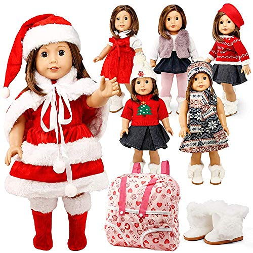 Estrange Oct17 American Girl 18 Inch Doll Clothes Wardrobe Makeup Santa Claus Casual Dress Boots Set 6Months (Doll Girl Onesies American)