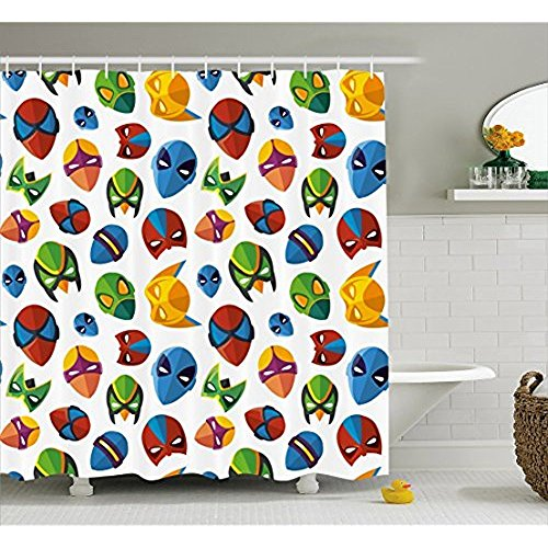 hvorhang, legendären Zeichentrickfigur Masken Flash Batman Spider-Man Comic Kostüm Drucken, Stoff Badezimmer eingerichtet mit Haken, Multicolor 66