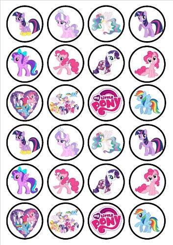 My Little Pony Edible PREMIUM THICKNESS SWEETENED VANILLA, Wafer Rice Paper Cupcake Toppers/Decorations