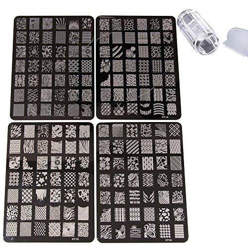 Beauty7 Tampons Vernis Stamping 4 Plaques Timbre Pochoir en Metal Image 168 Designs Mixtes Impression avec Stamp & Scraper Transparente Pour Ongle Manucure