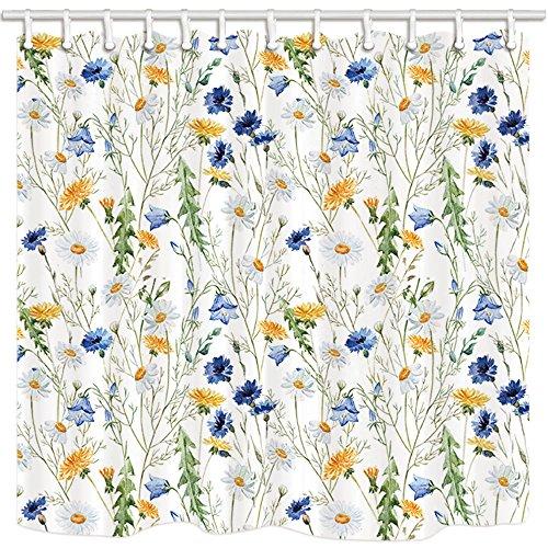 ge Dusche von kotom, Wild Flower blau weiß und gelb daisy Chrysanthemum Watercolor Wasserdicht Stoff Badezimmer Vorhänge, 175,3x 177,8cm ()