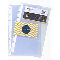 Exacompta 86111E - Paquet de 10 Recharges Pochettes pour Porte-cartes de Visite à Anneaux 13 x 21 cm (6 Cartes de…