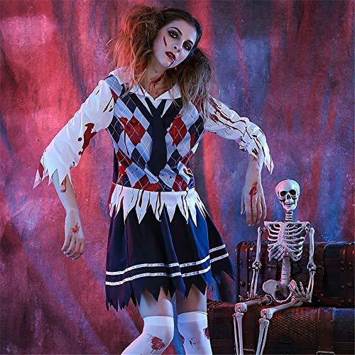 MOSSAGE Damen High School Girl Zombie Kostüm Halloween Scary Ghost Student Uniform Kostüm,XL