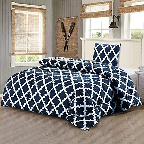 Utopia Bedding Bettdecke-Set - Sommerdecke mit Kissenbezug - Leichte Bettdecke (540g Füllung) - (135 x 200 cm, Marineblau)