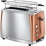 Russell Hobbs Toaster Grille-Pain, Cuisson Rapide, Contrôle Brunissage, Chauffe Viennoiserie - Cuivre 24290-56 Luna