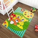 Tapiso Kinder Teppich Kurzflor Weich Kinderteppich Spielteppich Bären Teddy Blumen Muster Grün Blau Bunt Kinderzimmer ÖKOTEX 80 x 150 cm