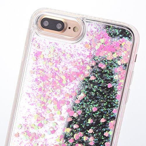 iPhone 8 Hülle, Voguecase Flüssig Diamant Schwimmend Treibsand Glitzer Bling Silikon Schutzhülle / Case / Cover / Hülle / TPU + PC Gel Skin für Apple iPhone 7/iPhone 8 4.7(Liebe/Pink) + Gratis Univers Liebe/Pink