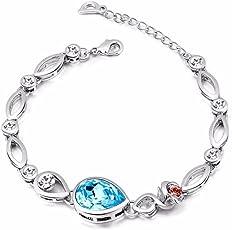NEVI Flower Fashion Swarovski Elements Rhodium Plated Charm Bracelet Jewellery for Women And Girls (Blue Red Silver)