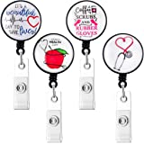 HASFINE Nurse or Doctor Badge Holder Reel, 4 Pack Retractable Badge Reels with Alligator Clip on ID Card Holders, 24 Inches D