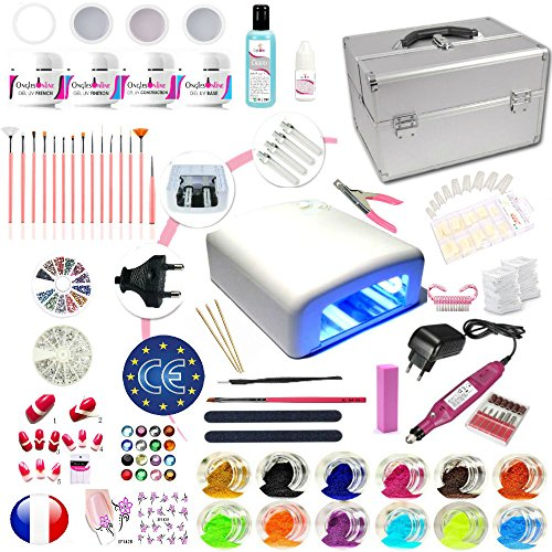 Kit manucure french XL VALISE avec ponceuse ongles nail art, capsules, gels uv, lampe