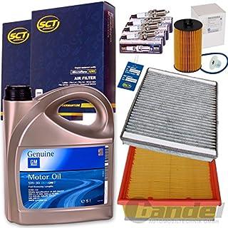 Filterset Inspektionspaket 1x GM 5W30 Dexos 2 4x Beru Zuendkerzen 1 Filter, Innenraumluft (Aktivkohle) 1 Oelfilter 1 Luftfilter 1 Verschlussschraube, Oelwanne 1 Oelwechselanhaenger