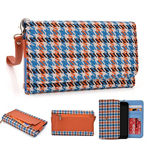 Kroo Housse de transport Dragonne Étui portefeuille compatible pour ALCATEL Pop S3/ot-991d/One Touch M Pop 5020D Noir Emerald Leopard Blue Houndstooth and Orange
