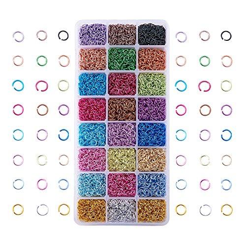 PandaHall Elite- 8400Pcs/Boite 24 Couleurs Anneau de jonction Anneau Ouvert Jump Ring en Aluminium Connecteur de Bijoux Chaine Links avec Boite de Rangement, 6x0.8mm, 5mm de Diamètre Intérieur