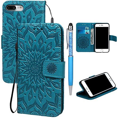 """xhorizon MLK Imprimés Fleurs faux cuir Flip Support magnétique Étui à cartes pour iPhone 7 Plus / iPhone 8 Plus [5.5""""] avec un stylet Bleu"""