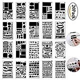 Pawaca Zeichenschablonen , 20 Stück Tagebuch Schablone Kunststoff Zeichnung Skala Malen Multifunktionale Zeichnung Lineal für Bullet Journal, Scrapbooking, Karten und DIY Craft Projekte -