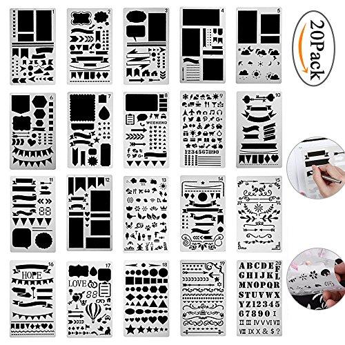 Pawaca Zeichenschablonen , 20 Stück Tagebuch Schablone Kunststoff Zeichnung Skala Malen Multifunktionale Zeichnung Lineal für Bullet Journal, Scrapbooking, Karten und DIY Craft Projekte