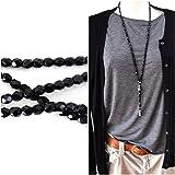 Y-Kette Halskette Ypsilonkette lang schwarz glänzend Glasperlen einfarbig mit Anhänger Stern