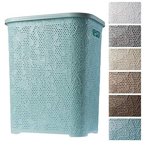 KADAX Wäschekorb, Wäschetruhe mit Deckel aus Kunststoff, Wäschesammler, Wäschesortierer für Bad, Kleidung, Spielzeug, Verzierungen, durchbrochenes Muster, 55l, leicht (pfefferminz)