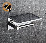 Kazeila Porta Rotoli carta igienica con supporto porta cellulare fissato al muro Bagno - Ispessimento 304 acciaio inox + Autoadesivo 3M