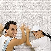 Jiangfu, mattoni adesivi da parete, 60x 60cm, in polietilene espanso, effetto 3D., materiale plastico, WH, Größe: 60 X 60 X 0,8 cm