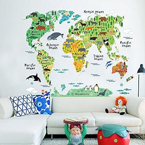 Murales Mapa del Mundo País dibujos animados energético animales selva extraíble Nursery Wall Art Decor Peel & Stick calcomanías pegatinas para Niños Sala de juegos decoración Kindergarden Estudio sala