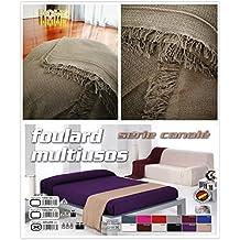 Colcha multiusos / Cubre sofás / Sobrecamas y colchas / Manta color liso para sofá 3 plazas o cama 135-150cm (220 x 260 cm, PIEDRA)