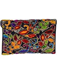 Shubhangi Women's Sling Bag (Jaipuri Embridered Handicraft Traditional Sling Bag,Multi-Coloured, R32051 Black)