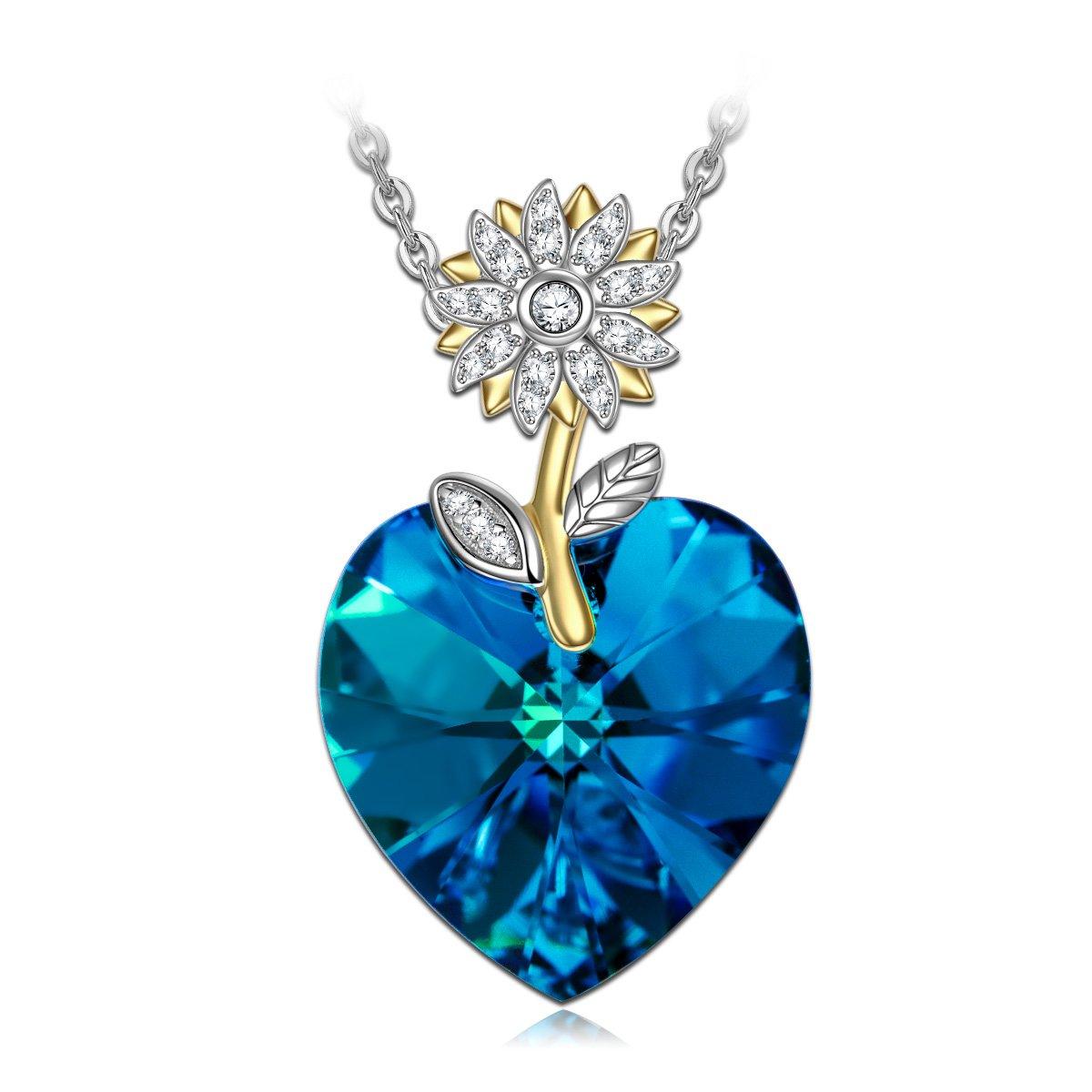 Alex Perry Regalos para San Valentín, Serie Mundo Hermoso, Collar de Mujer, Plata de Ley 925, Cristal de Azul de Swarovski, Exquisita Caja de Regalo