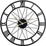 lofts Cuisines Fer caf/és 50cm Pubs Noir Funtabee Horloge Murale en m/étal Noir avec Motif Squelette de Cuisine r/étro Vintage silencieuse et /él/égante Design Unique id/éal pour Les Salons