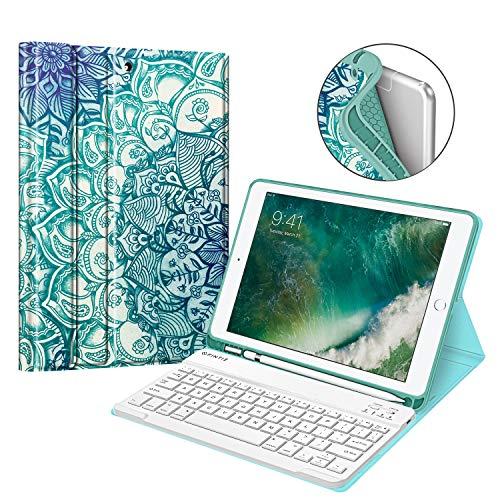 Fintie Tastatur Hülle für iPad 9.7 2018 (6. Generation), Soft TPU Rückseite Gehäuse Keyboard Case mit eingebautem Pencil Halter, magnetisch Abnehmbarer QWERTZ Bluetooth Tastatur, smaragdblau Bluetooth Halter