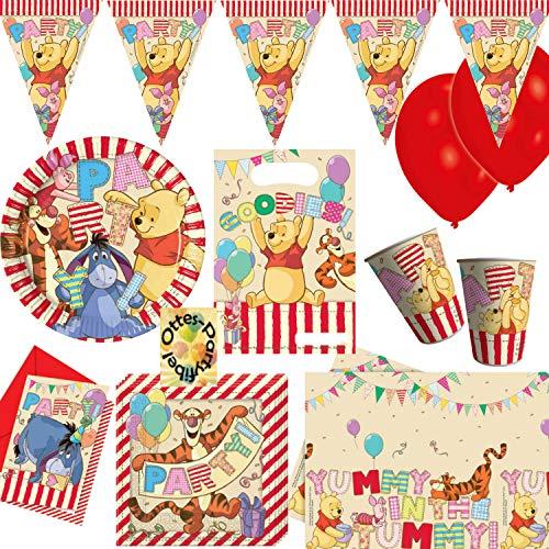 HHO Winnie Pooh Alphabet Partyset 60tlg. für 6 Gäste Teller Becher Servietten Tischdecke Einladung Mitgebseltüten Wimpel Luftballons