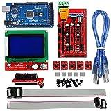 KOOKYE 3D-Drucker Controller Komplettset (RAMPS 1.4 + 12864 LCD + Mega2560 + 5 Stück A4988 Schrittmotortreiber)