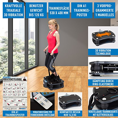 skandika Home Vibration Plate 500, Profi Vibrationsgerät, inklusive Trainingsbänder mit großer rutschsicheren Trainingsfläche, Fernbedienung und kraftvoller 3D-Vibration - 2